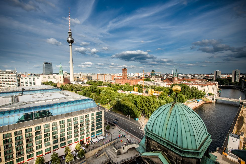 Aerial bird eye view of the cityscape of Berlin, Germany
