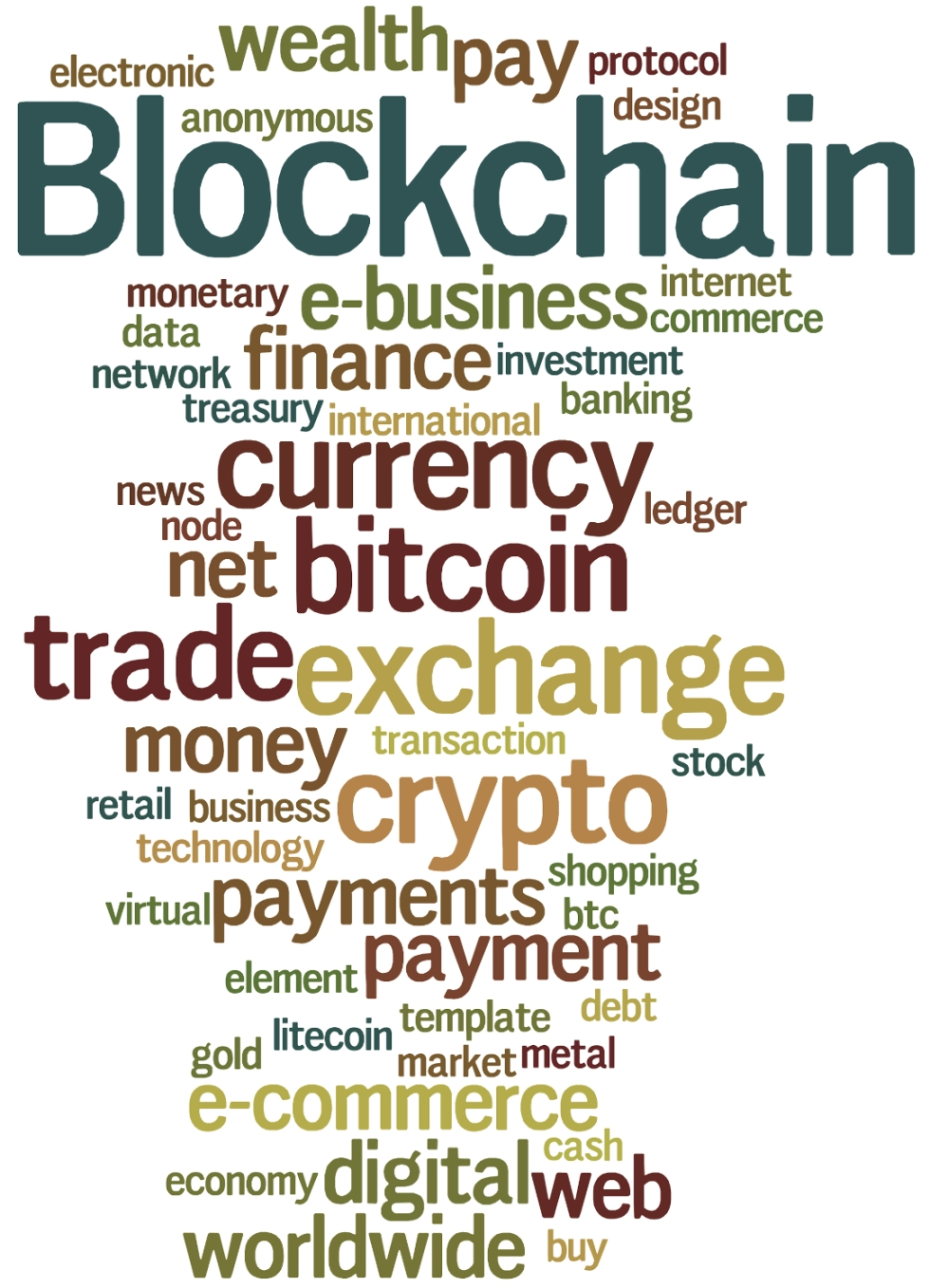 Blockchain, word cloud concept on white background.