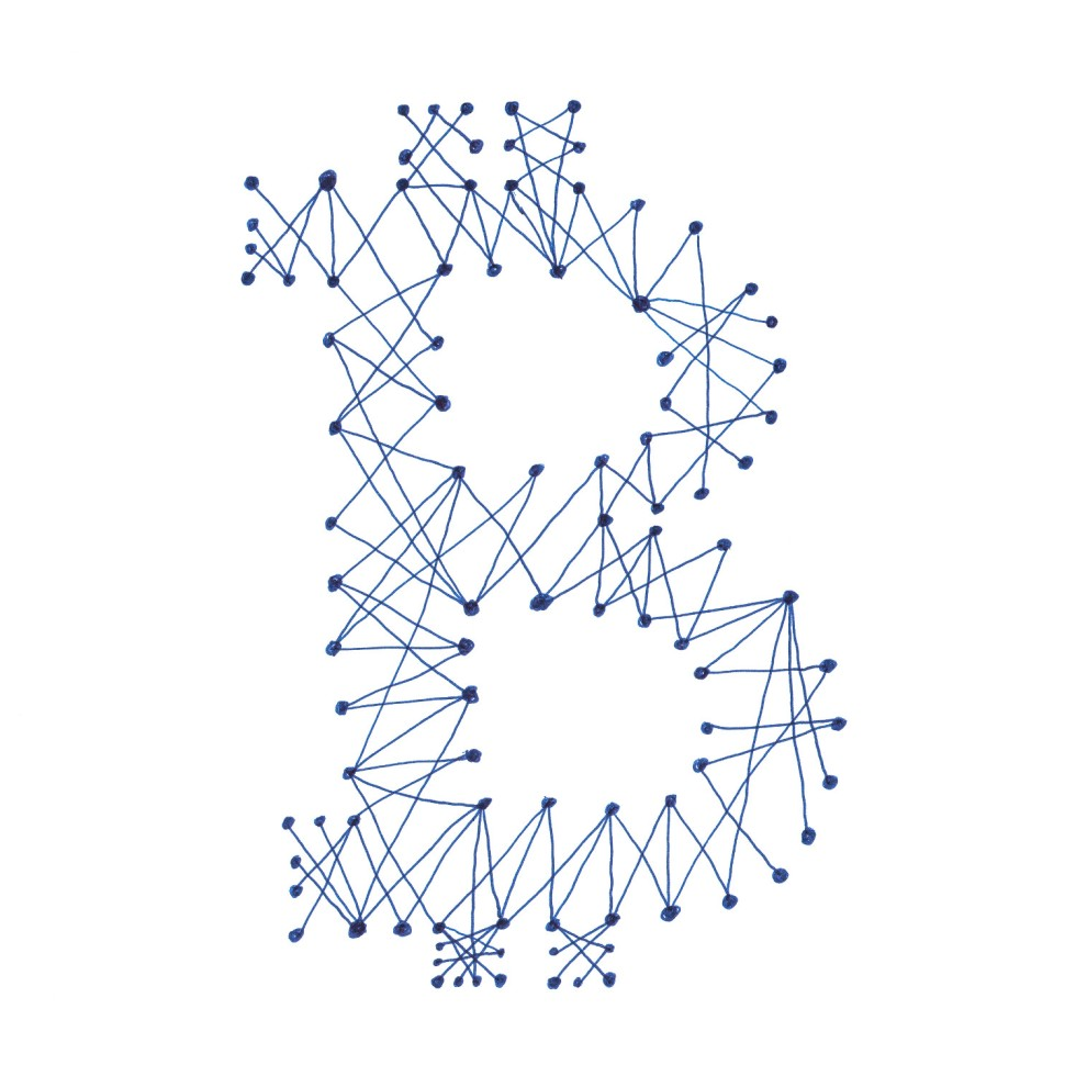 Bitcoin network symbol, handmade drawing of a digital decentralized cryptocurrency, letter B on white background.