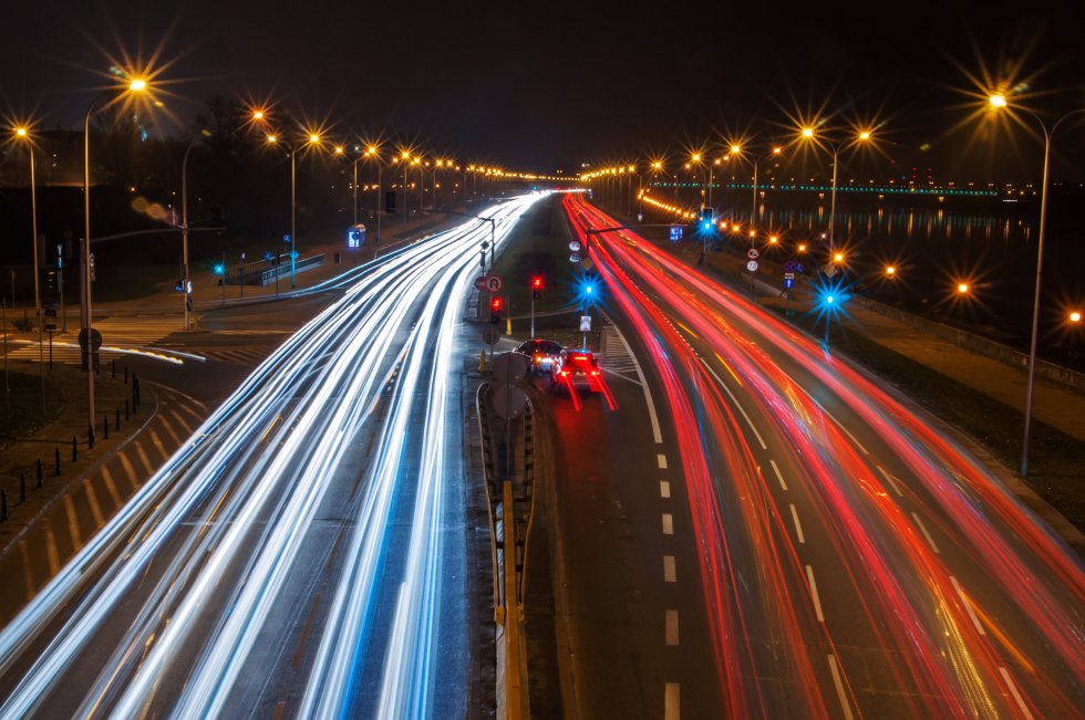 Highway at night. Poland, Warsaw.
